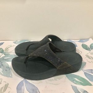 Fitflop Navy Blue Leather Sequined Sandals - 7